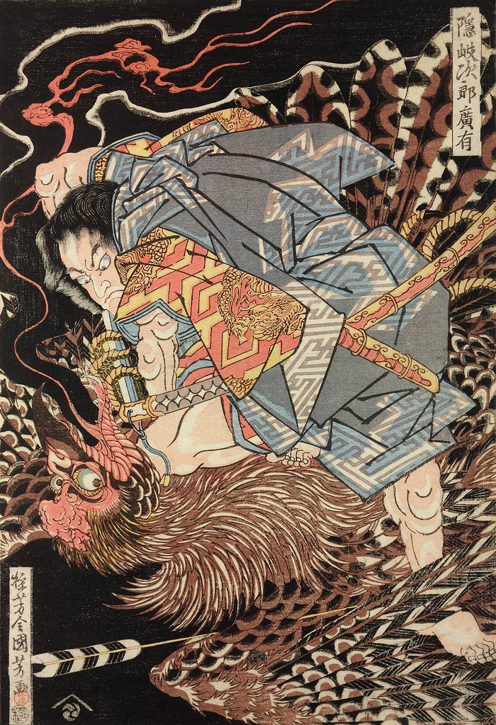 Utagawa Kuniyoshi - Oki Jiro Hiroari battling the nue, revealed to be a giant tengu (bird-like goblin) 1815-19