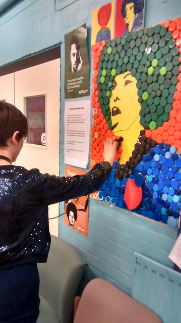 Recording the sounds of the bottle-top mural