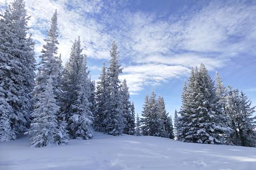 Aspen mountain in winter