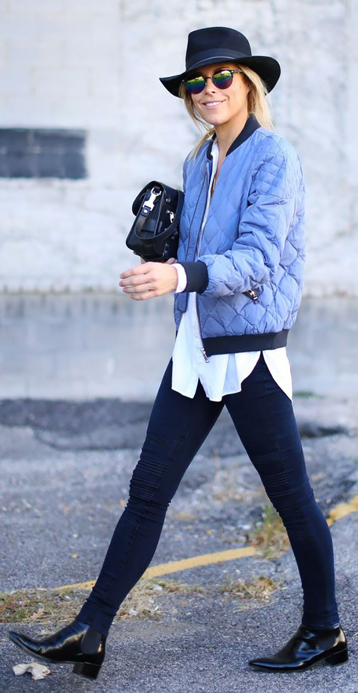 Bomber jacket street style outfit fashion6