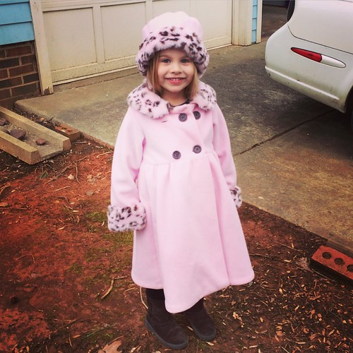 "My sister bought this coat/hat for Catie 5 or 6 years ago. She wore it once. Lucy just found it & thinks it's the best thing ever. (""Pink is my FAVORITE COLOR!!"")"