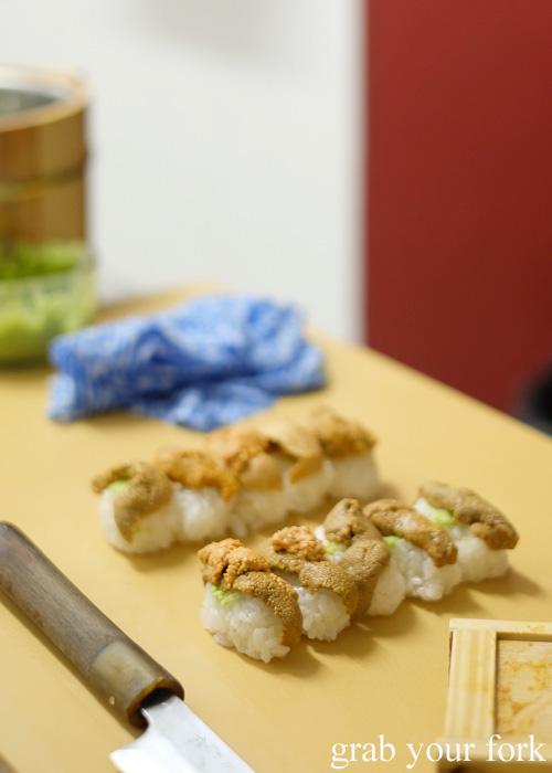 Uni sea urchin roe sushi at Sashimi Shinsengumi, Crows Nest