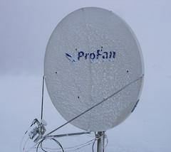 Oblodzona antena, bedzie wymieniona na podgrzewaną.