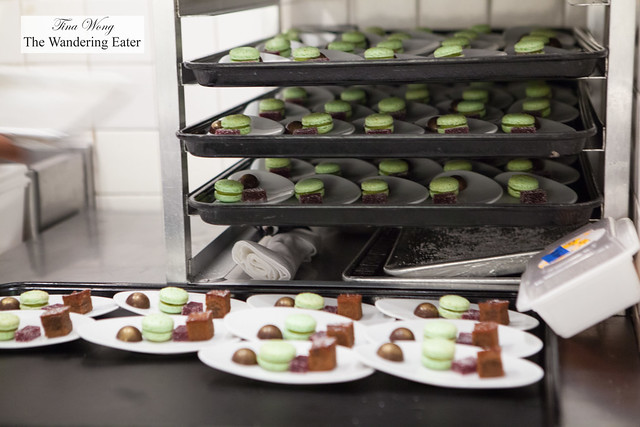 Petit fours plated seen during the kitchen tour with Chef Eric Ripert