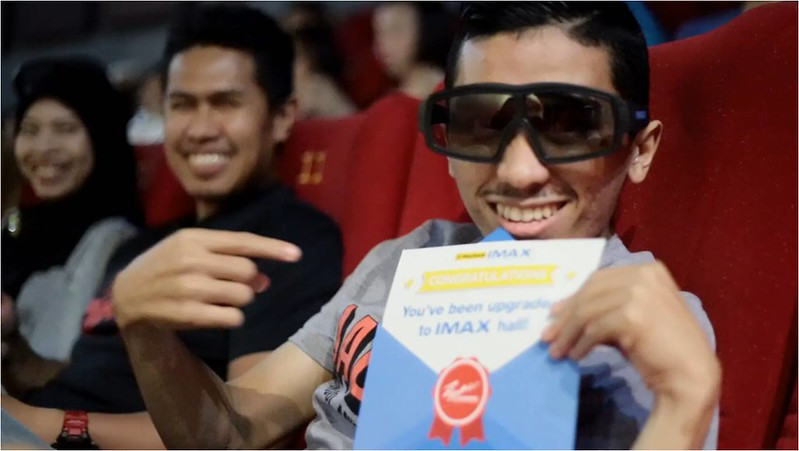 Suprised movie goer ready to  watch Batman V Superman in IMAX