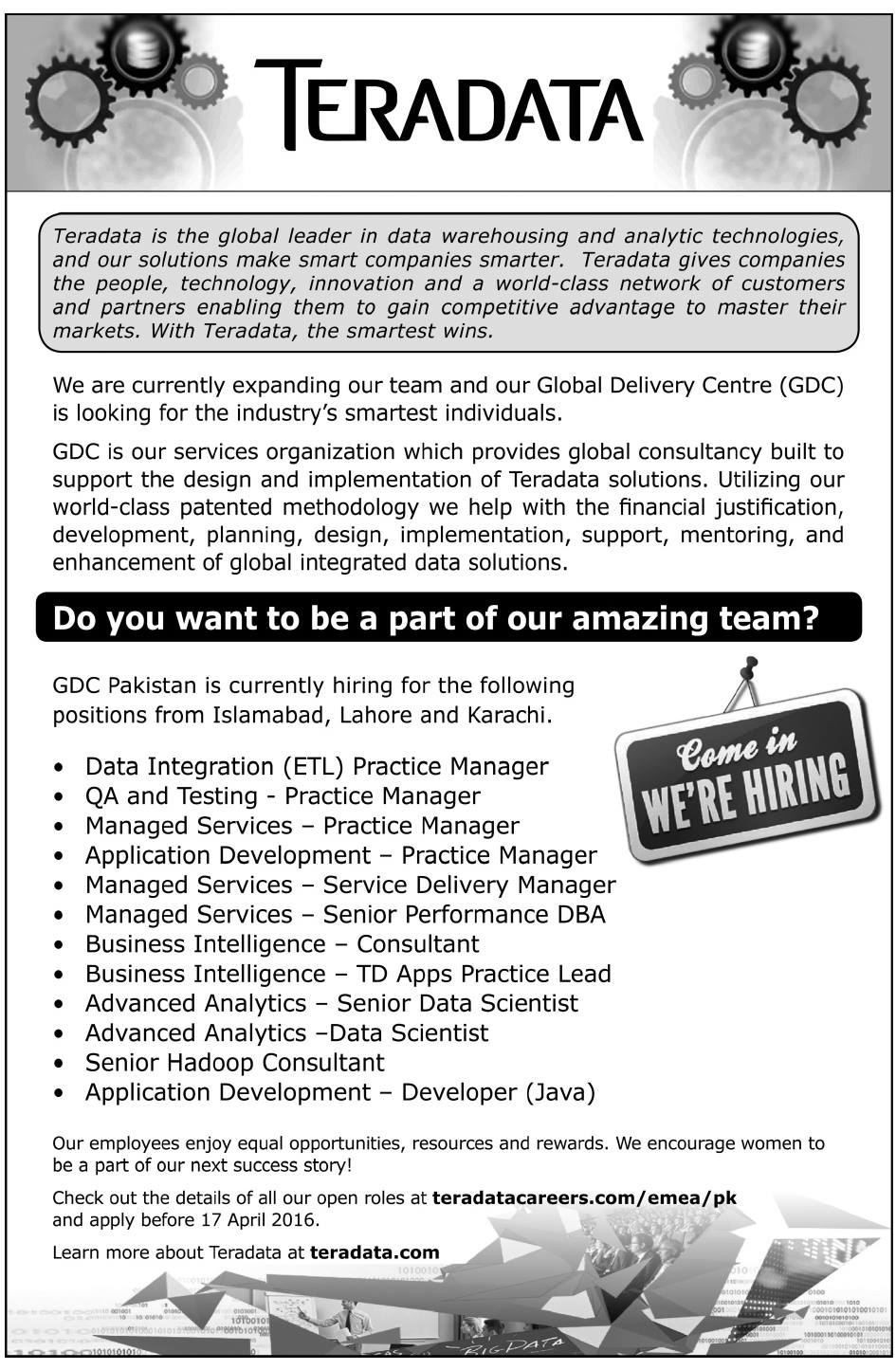 Global Delivery Center Jobs 2016