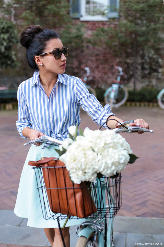 bike ride outfit charleston mint green skirt navy stripes shirt