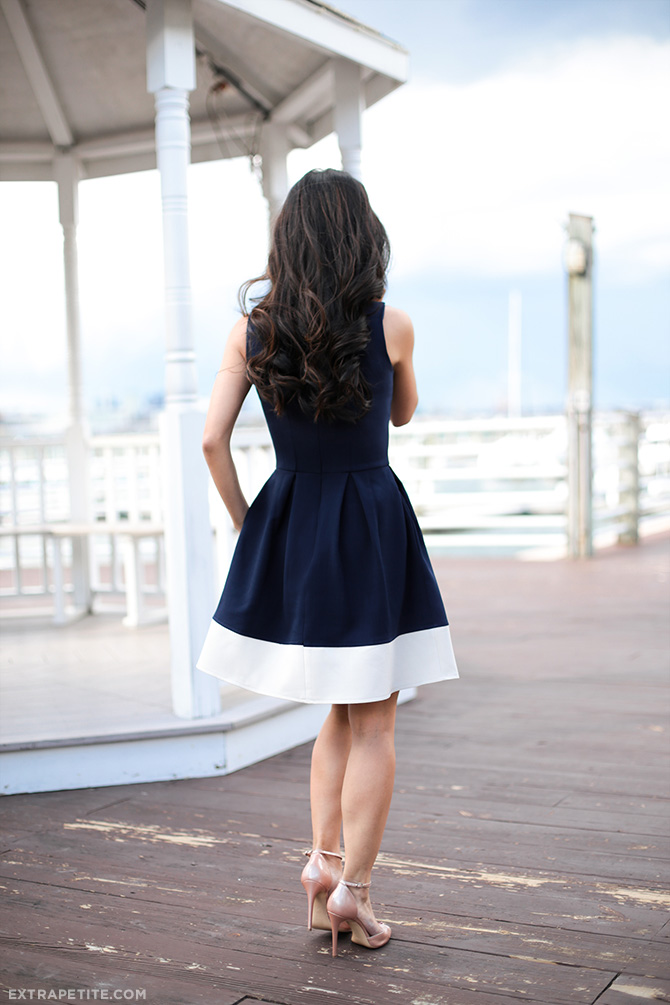 casual wedding nautical pleated dress navy white