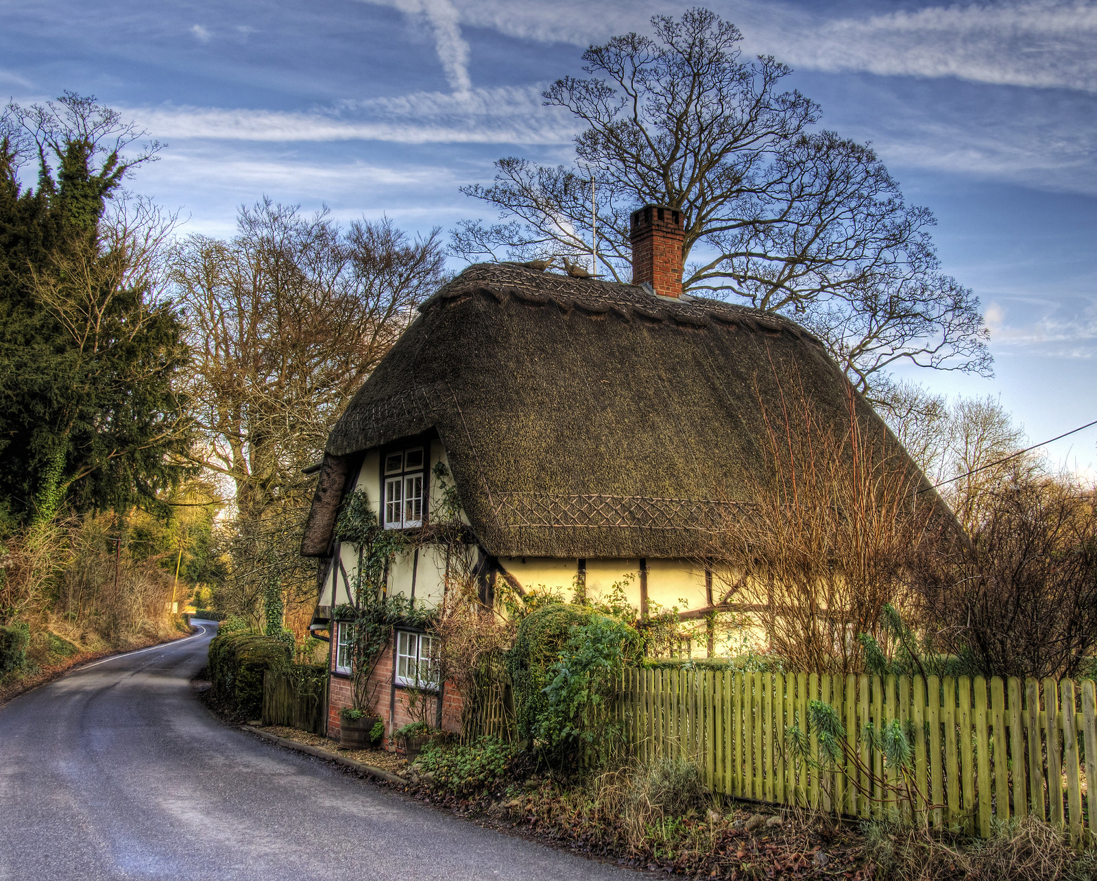 A thatched cottage at Wherwell in Hampshire. Credit Neil Howard