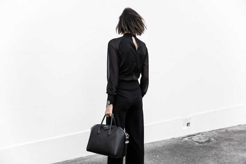 all black workwear inspo street style Karen Millen fashion blogger modern legacy man style sheer cut out shirt  (5 of 15)