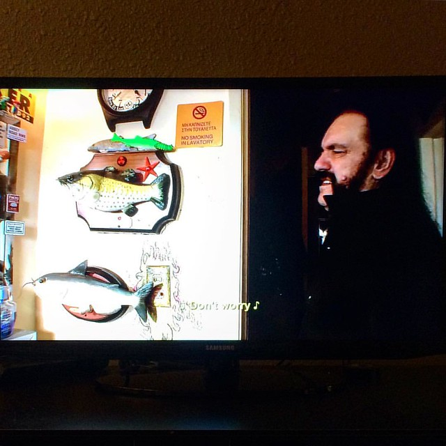 "My favorite scene in ""Lemmy"" is Lemmy singing ""Don't worry, be happy"" with the fish in his bathroom."