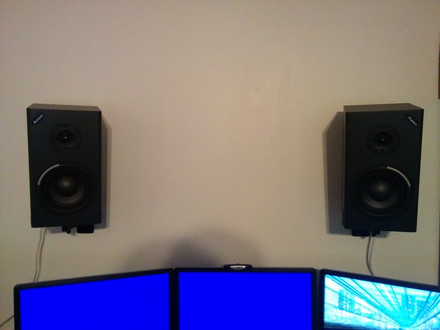 Speakers on a wall