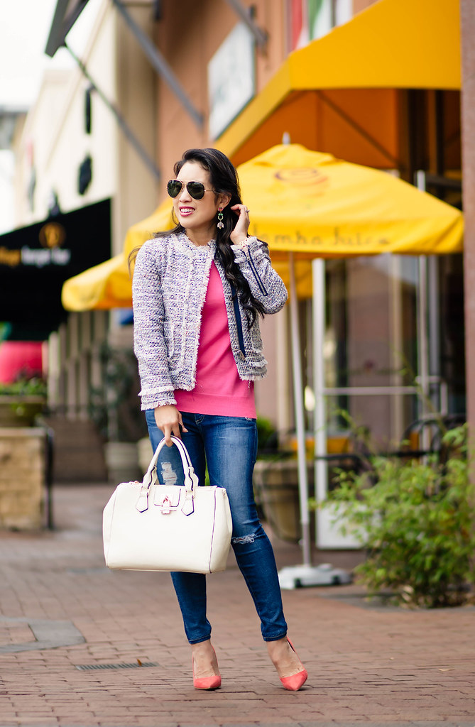 cute & little blog | petite fashion | tweed jacket, pink tippi sweater, distressed jeans, m.gemi coral pumps, statement chandelier earrings, ray ban aviators | spring outfit