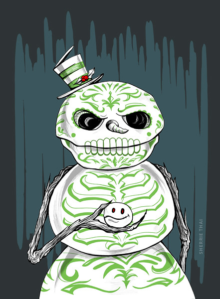Day of the Dead Snowman art by sherrie thai of shaireproductions.com