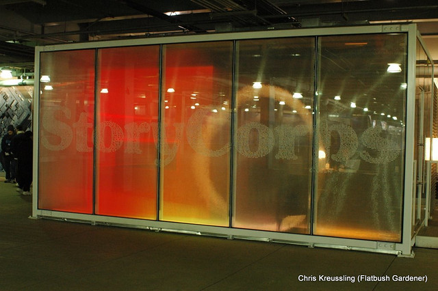 The StoryCorps booth in the PATH station at the World Trade Center/Ground Zero, 2006-01-22