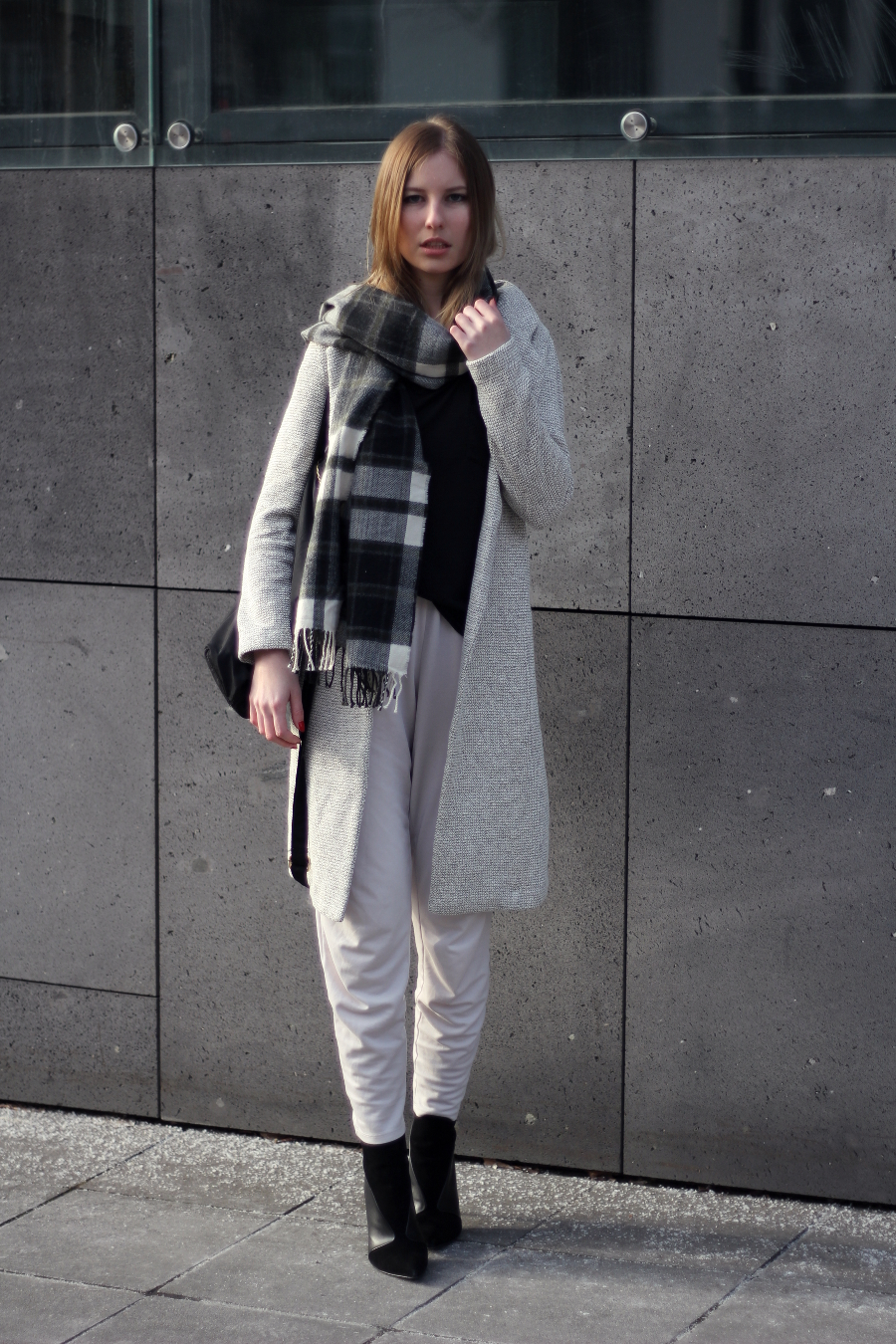 outfit frankfurt fashion blogger basic look new coat wollmantel beige high heels zara