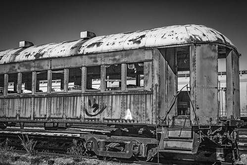 old railroad blackandwhite bw galveston abandoned monochrome graffiti us blackwhite texas unitedstates rail derelict passengercar