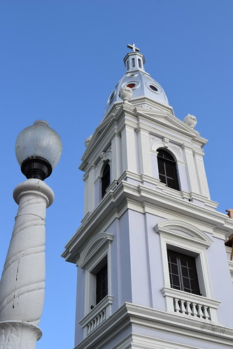church cathedral puertorico belltower spanish lamppost ponce ourladyofguadalupe