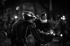 Cyclists wearing helmets