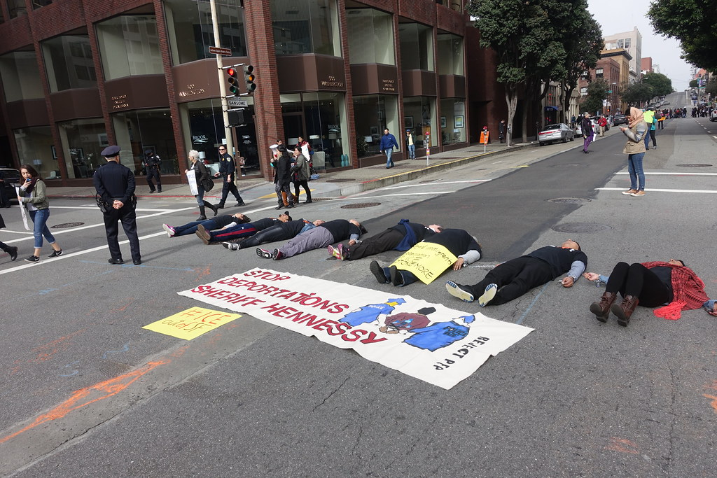16 arrested blocking intersection near San Francisco #ICE HQ #ICEoutOfSF #StopTheRaids #Relief4Refugees #Not1More #protest #sanfrancisco