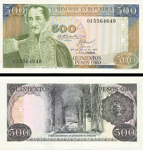 500 Pesos Oro Kolumbia 1977, P420a UNC