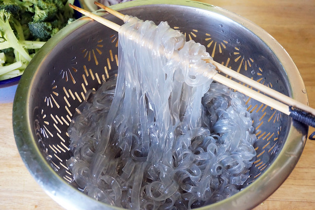 Cooked glass noodles. Still grey, but now glistening and plump. They look more like tentacles than anything else, if we're begin honest. But if you want a great tactile experience, squish your hand down into some cold cooked glass noodles.