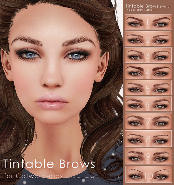 Tintable Brows (white) for Catwa Heads