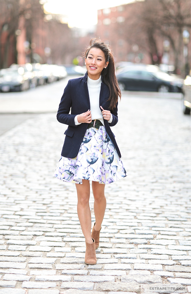 navy blazer floral dress skirt boston spring outfit