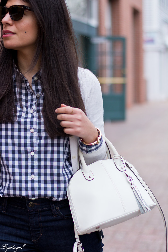 gingham shirt, white cardigan, nude laceup flats-4.jpg