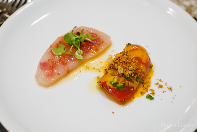 Raw Yellowtail and Big Eye Tuna Crudo