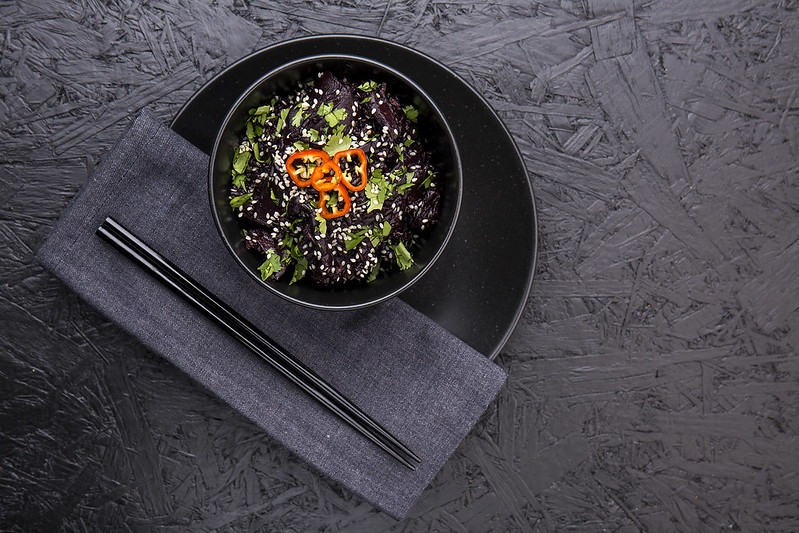 Black rice with miso mushrooms