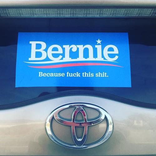 Also, new car decoration. #FeelTheBern