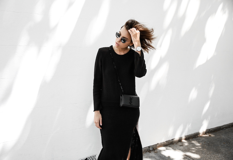 long sleeve maxi dress street style inspo fashion blogger transseasonal YSL chain bag monochrome modern legacy  (4 of 13)