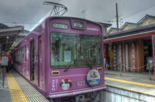 'RANDEN' tram at Arashiyama Station on APR 06, 2016 (4)