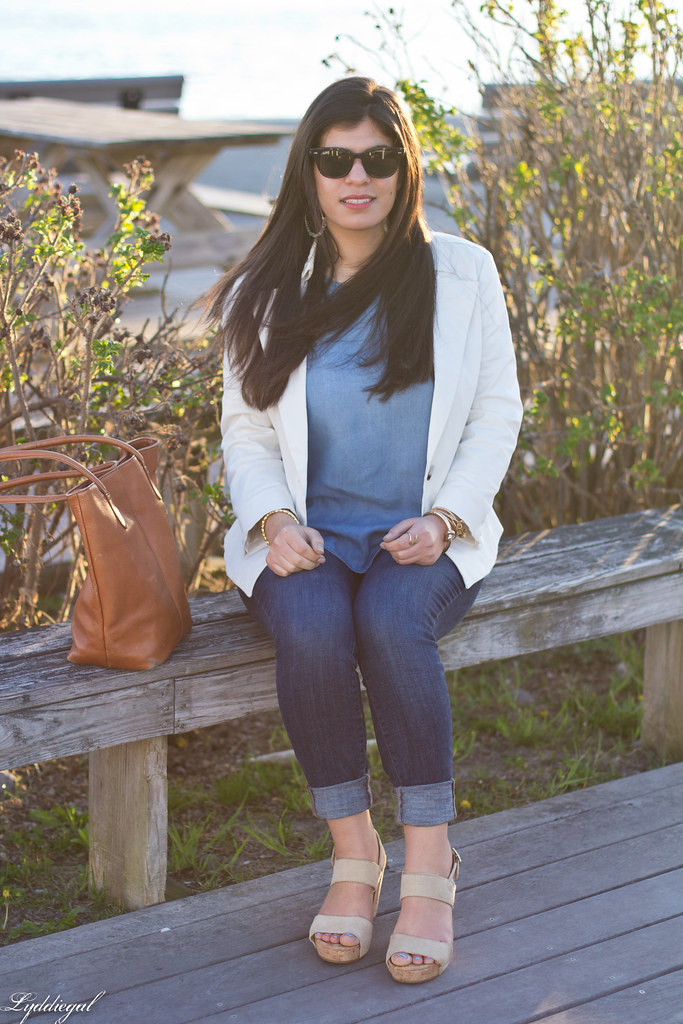 white blazer, chambray shirt, jeans, brown leather tote-2.jpg