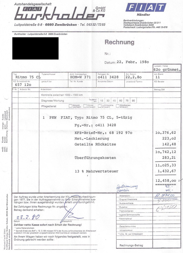 fiat ritmo 1980 rechnung receipt receipt for a ritmo 75. Black Bedroom Furniture Sets. Home Design Ideas