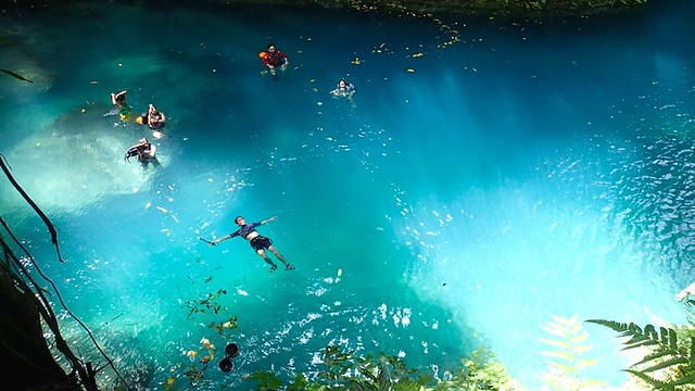 Floating at Kawasan Falls