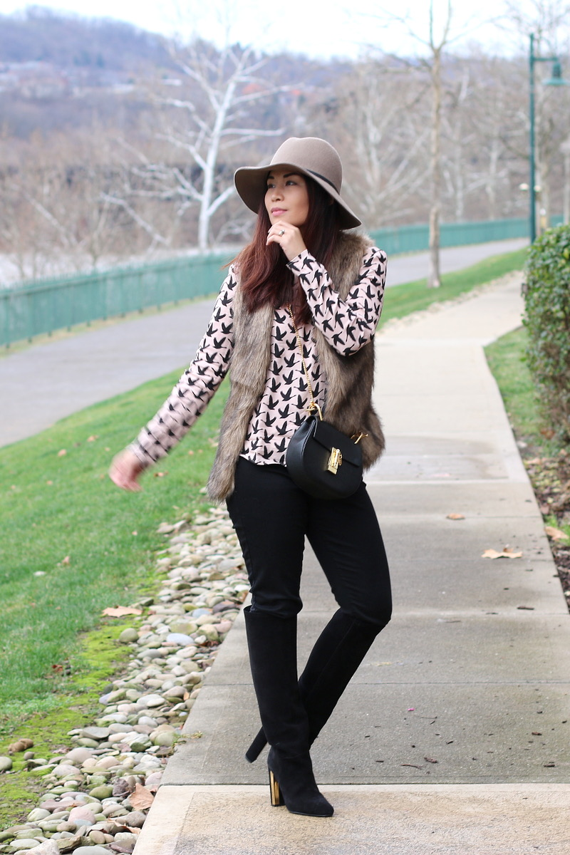 faux fur vest, tall boots