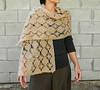 Handmade light beige lace crochet shawl long scarf wrap stole cozy and beautiful womens fashion accessory