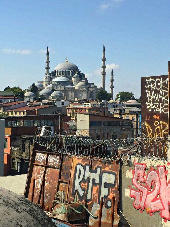 Istanbul mosque and graphiti
