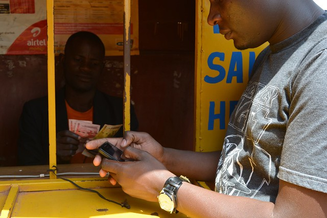 Withdrawing money from a mobile money account in Uganda