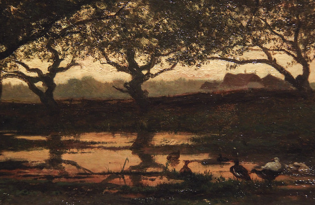 Woodland Pond at Sunset, Albert Gerard Bilders, 1862