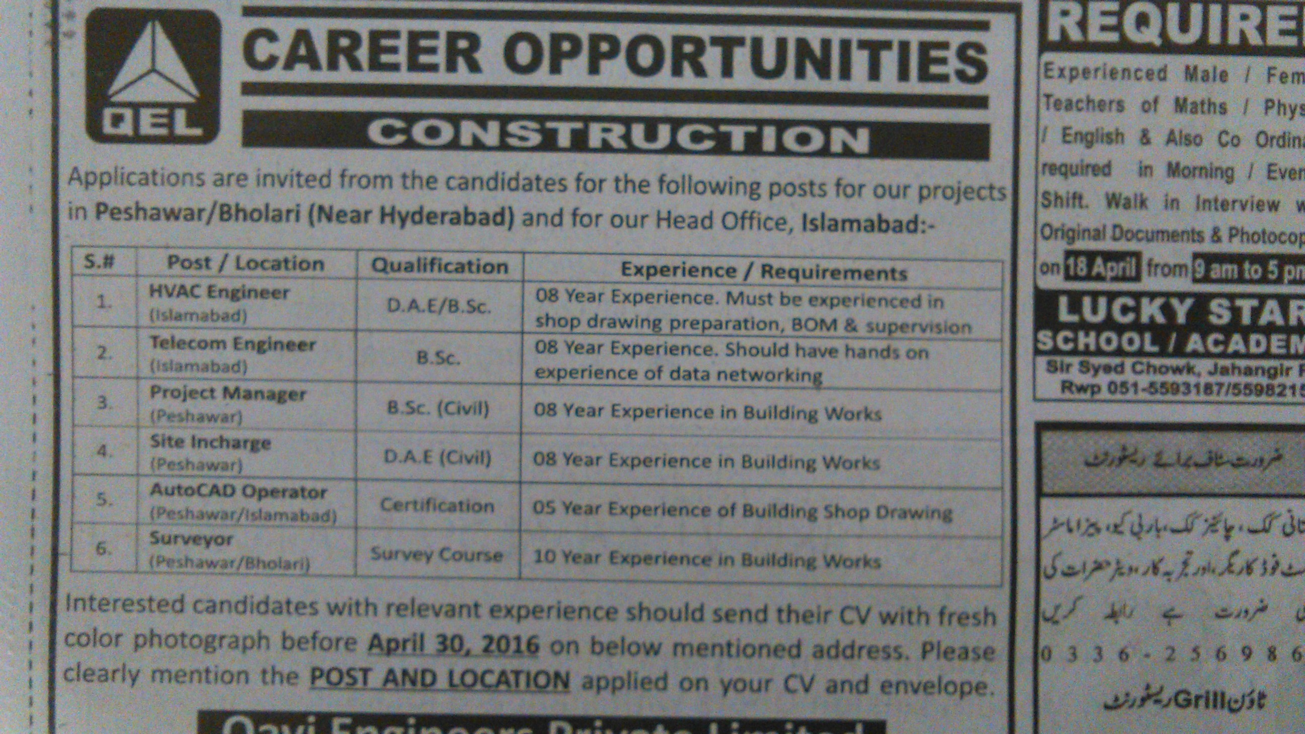 Career Opportunity in Construction