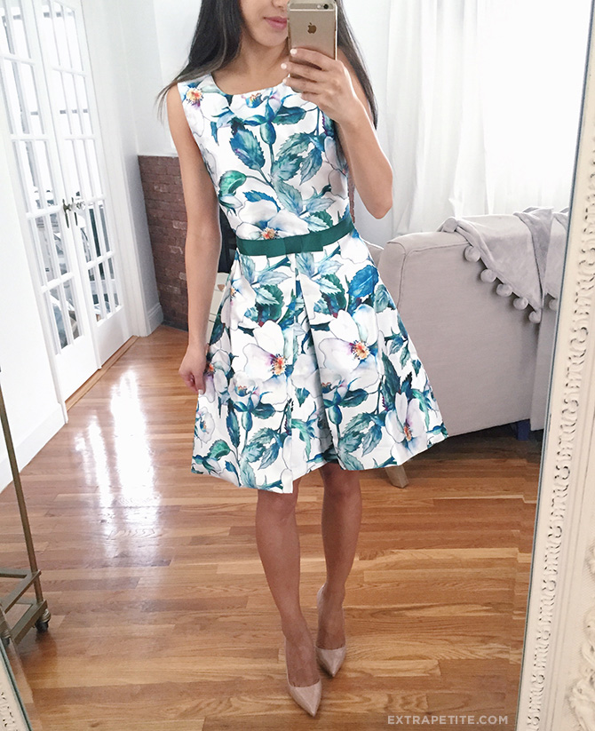 spring wedding guest outfit teal floral dress modcloth FS