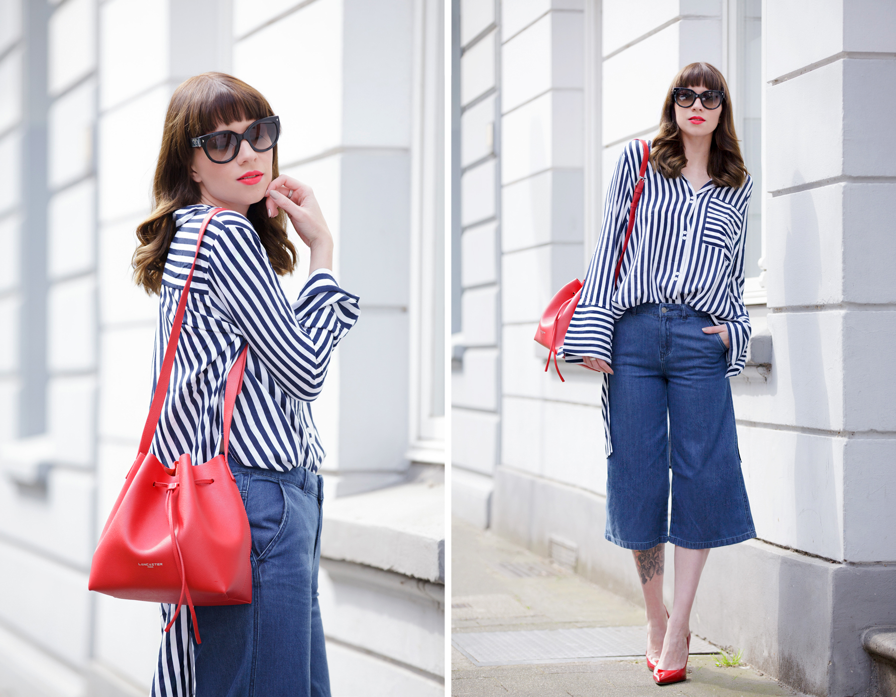 francaise chic striped outfit ootd look of the day lookbook love pretty parisienne outfit denim culottes vero moda edited striped shirt lancaster paris bucket bag prada mister spex sunglasses pumps cats & digs fashionblog ricarda schernus modeblog 7