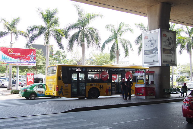 yellow bus from Tân Sơn Nhất International Airport. Ho Chi Minh City (Saigon)