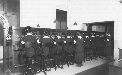 Hello Girls operating switchboards in Chaumont, France during WWI