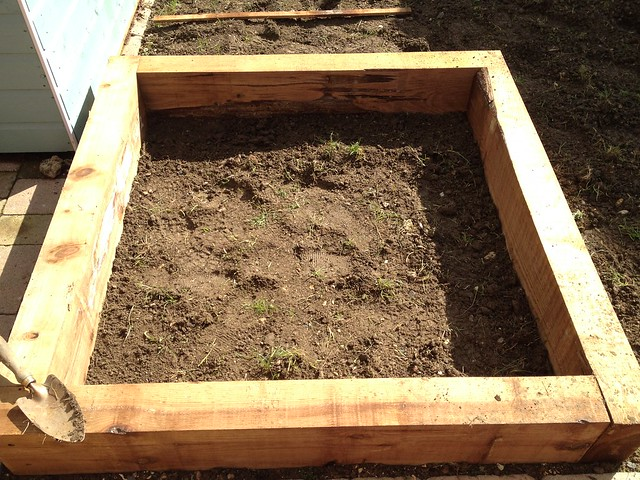 First layer of new raised bed