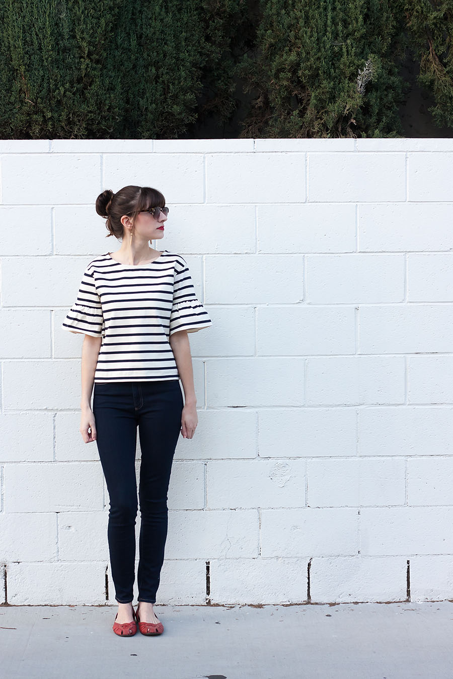 J.Crew Striped Top, High Rise Skinny Jeans