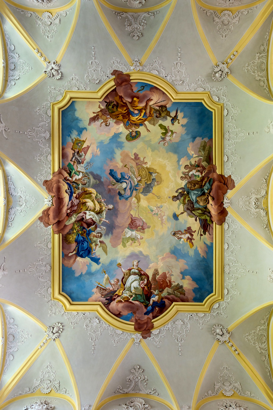 Ceiling fresco of the Abbey's Staircase at Seitenstetten Abbey (Lower Austria) by Bartolomeo Altomonte (1744) Triumph of St. Benedict. Credit Uoaei1